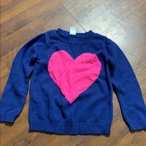 3T Carter's girl navy blue sweater with pink heart